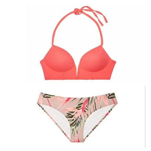 5226eae619c88 NEW Victorias Secret PINK Palm Bikini Swimsuit NWT